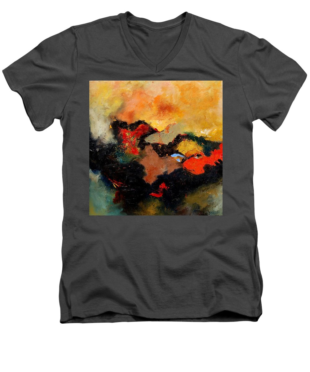 Abstract Men's V-Neck T-Shirt featuring the painting Abstract 8080 by Pol Ledent