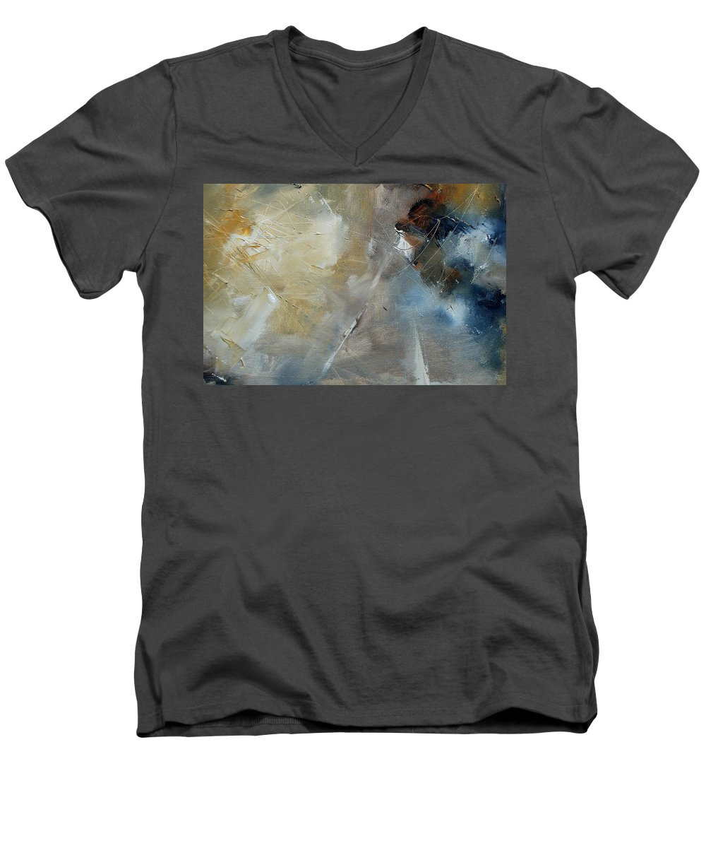 Abstract Men's V-Neck T-Shirt featuring the painting Abstract 904060 by Pol Ledent
