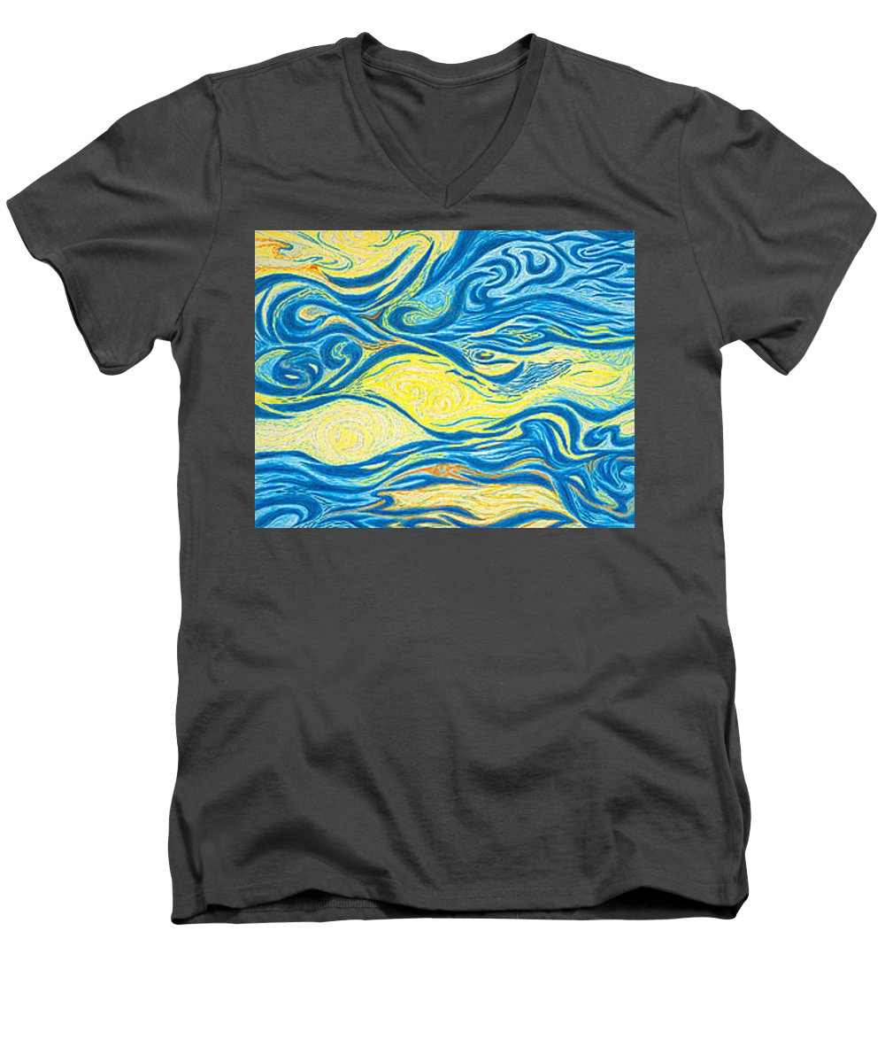 Art Men's V-Neck T-Shirt featuring the drawing Abstract Art Good Morning Contemporary Modern Artwork Giclee Fine Art Prints Life Cycle Swirls Water by Baslee Troutman
