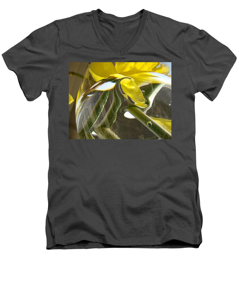 �daffodils Artwork� Men's V-Neck T-Shirt featuring the photograph Abstract Artwork Daffodils Flowers 1 Natural Abstract Art Prints Glass Vase Water Art Light Air by Baslee Troutman