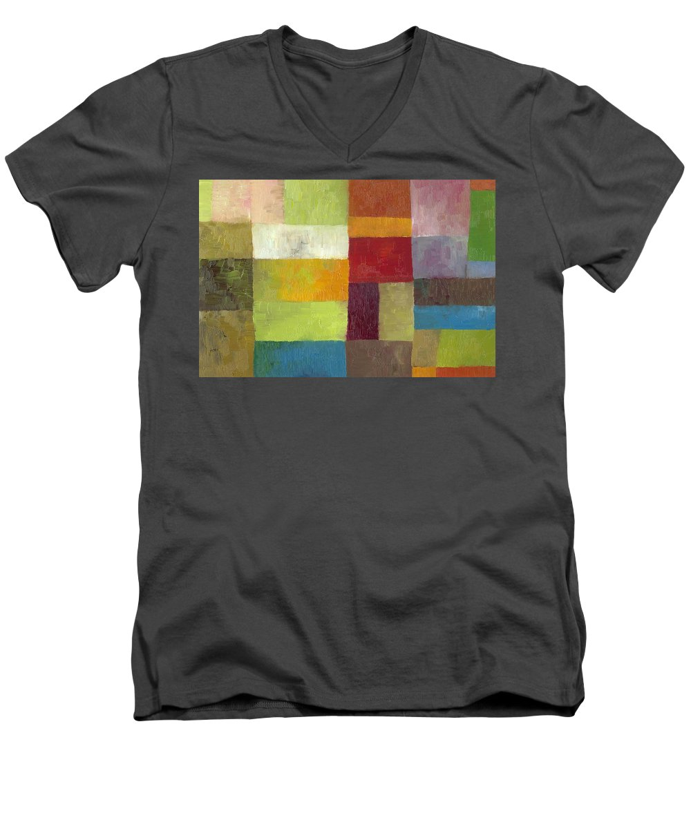 Abstract Men's V-Neck T-Shirt featuring the painting Abstract Color Study Lv by Michelle Calkins
