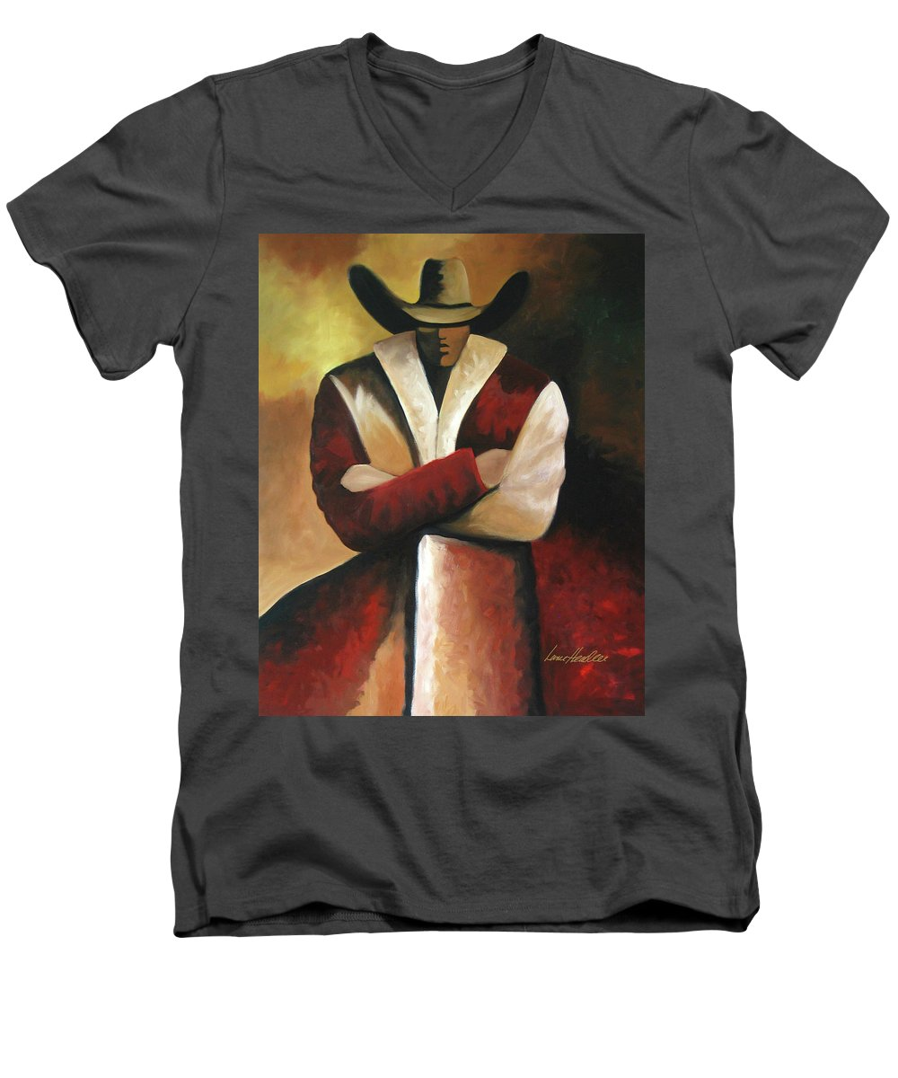 Men's V-Neck T-Shirt featuring the painting Abstract Cowboy by Lance Headlee