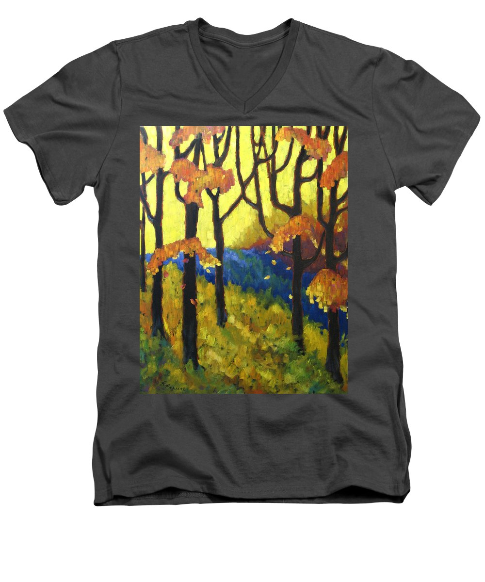 Art Men's V-Neck T-Shirt featuring the painting Abstract Forest by Richard T Pranke