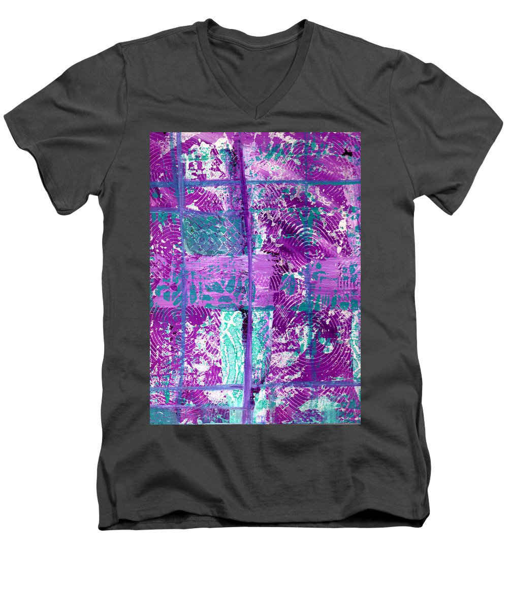 Abstract Men's V-Neck T-Shirt featuring the painting Abstract In Purple And Teal by Wayne Potrafka