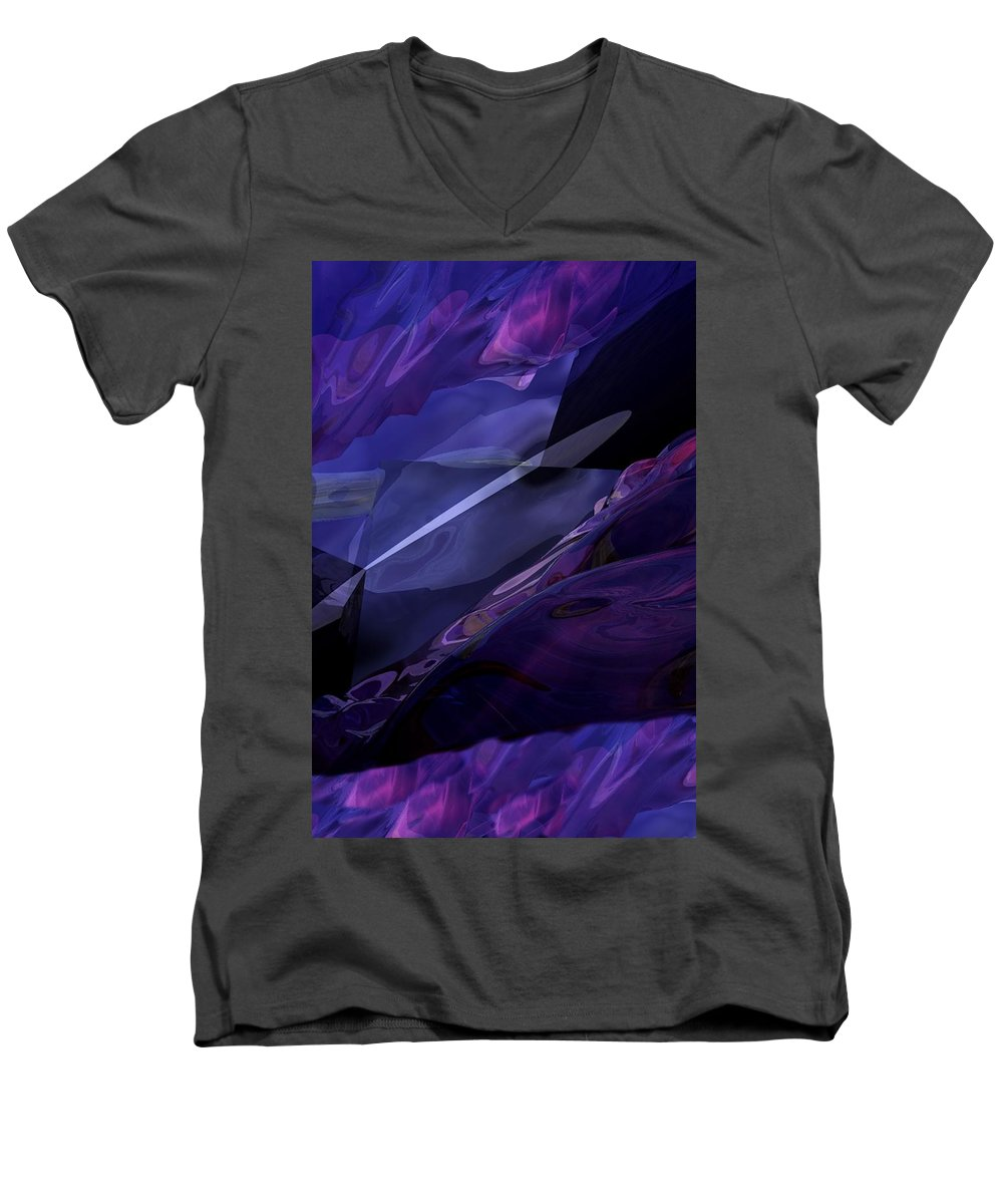 Abstract Men's V-Neck T-Shirt featuring the digital art Abstractbr6-1 by David Lane
