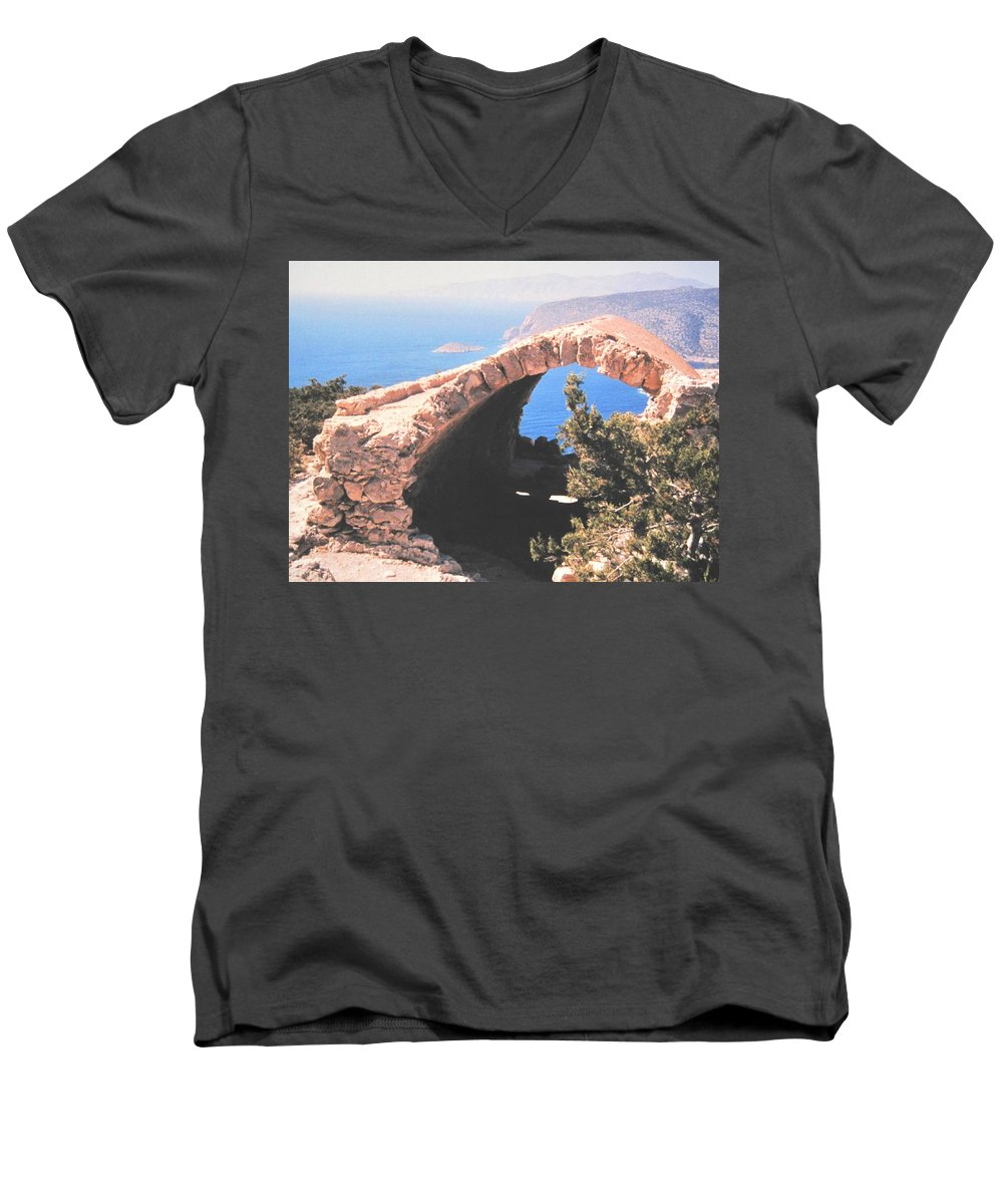 Greece Men's V-Neck T-Shirt featuring the photograph Across To Turkey by Ian MacDonald