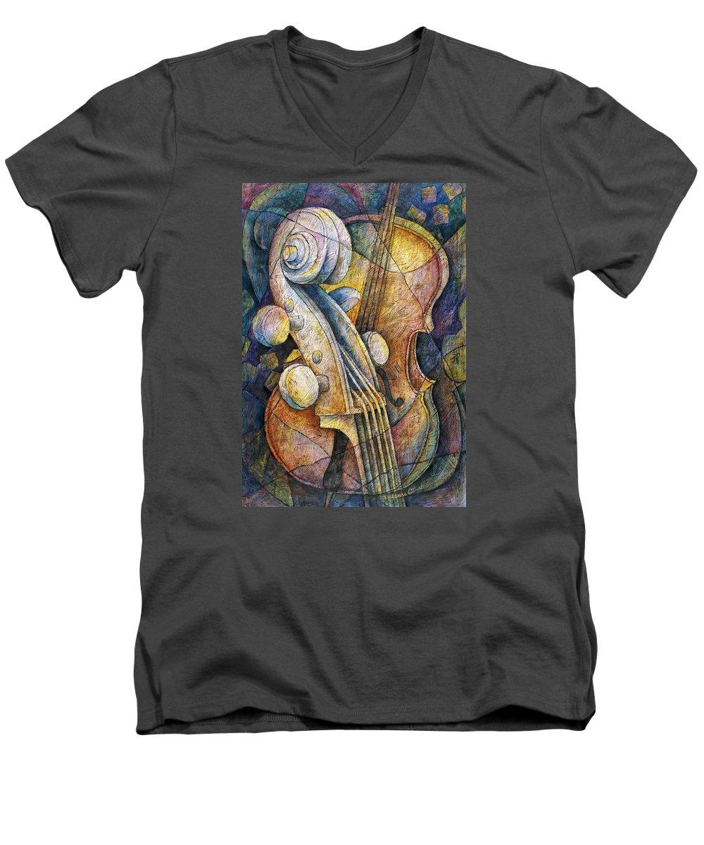 Susanne Clark Men's V-Neck T-Shirt featuring the painting Adam's Cello by Susanne Clark