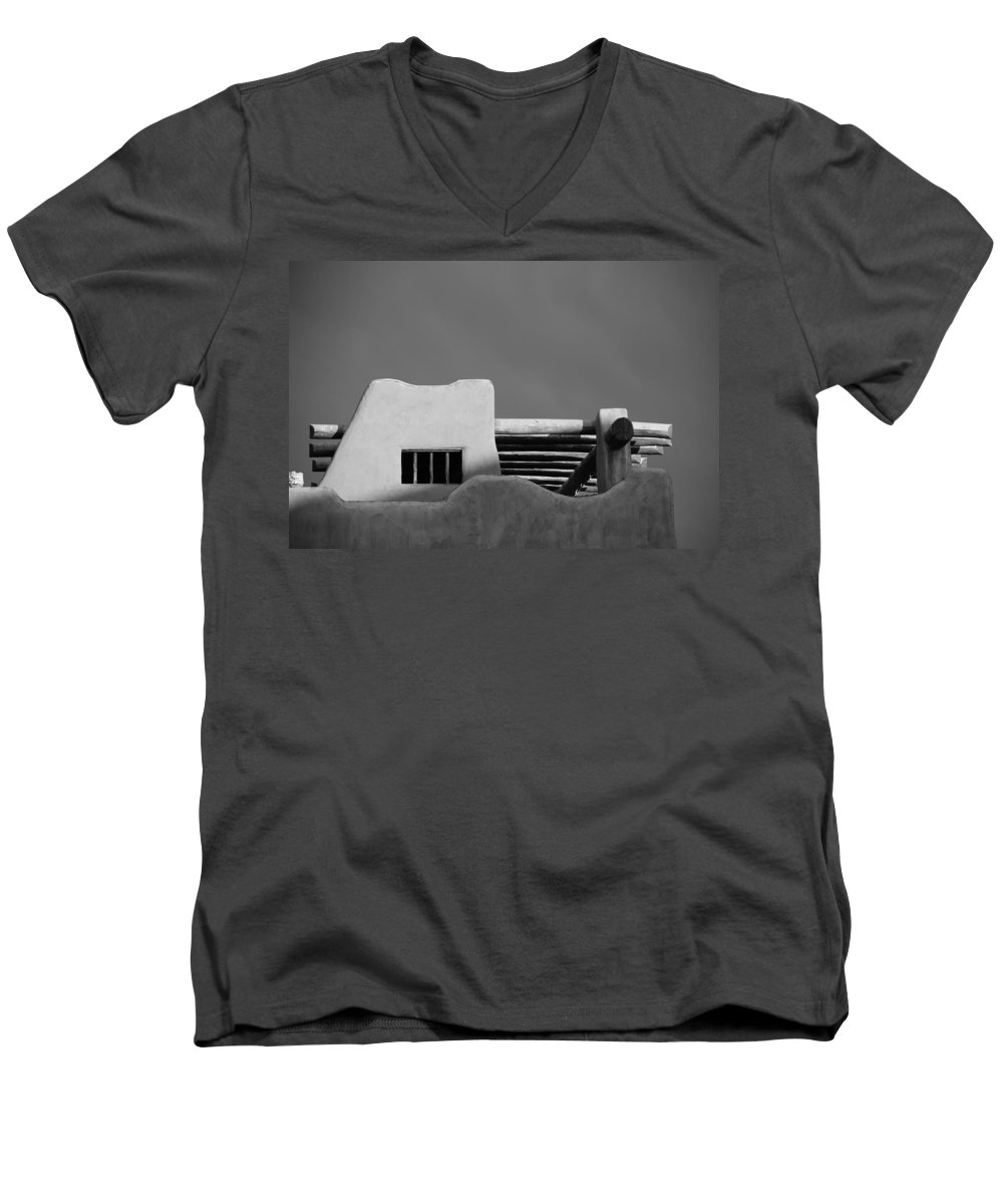 Architecture Men's V-Neck T-Shirt featuring the photograph Adobe Turrett by Rob Hans