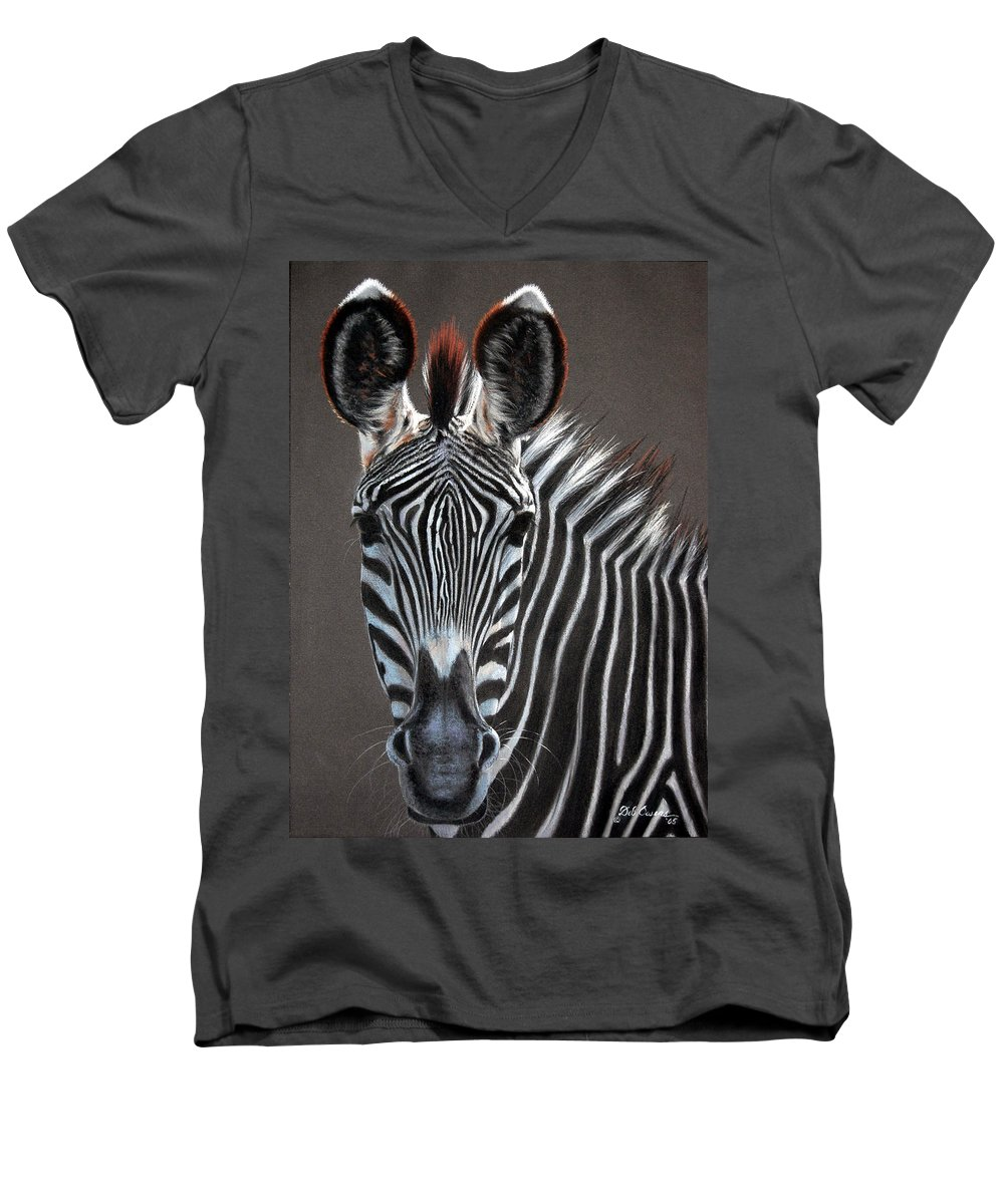 Wildlife Men's V-Neck T-Shirt featuring the painting African Beauty by Deb Owens-Lowe