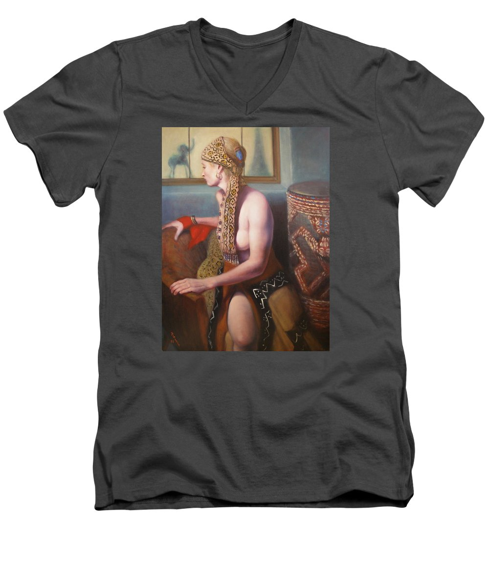 Realism Men's V-Neck T-Shirt featuring the painting African Drum 1 by Donelli DiMaria