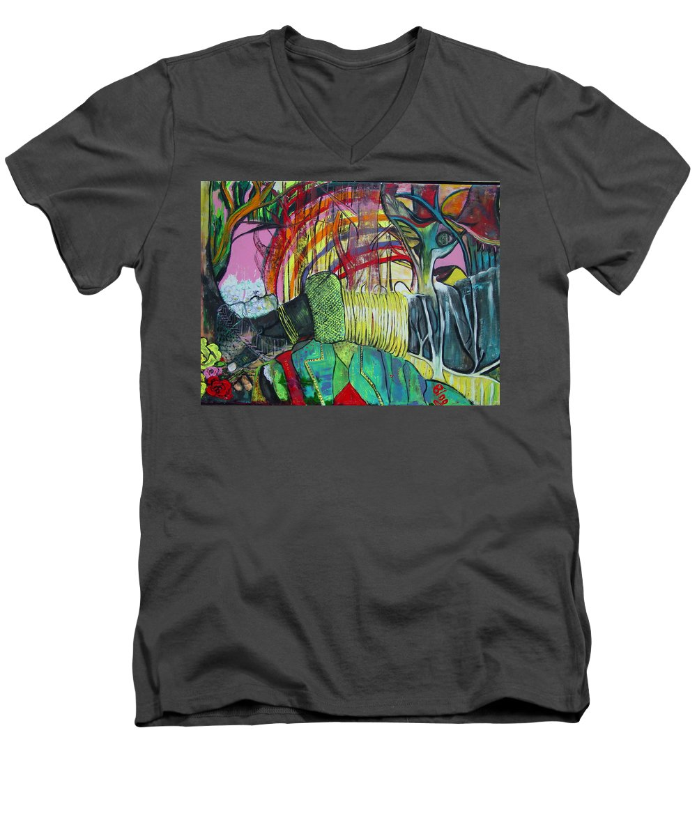 African Lady With Baby Men's V-Neck T-Shirt featuring the painting African Roots by Peggy Blood