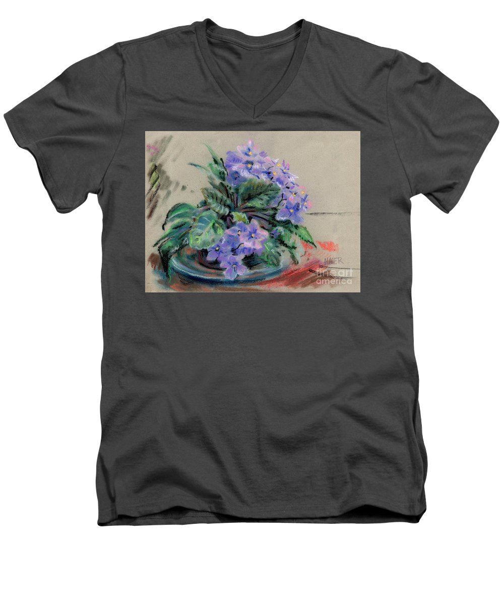 African Violets Men's V-Neck T-Shirt featuring the drawing African Violet by Donald Maier