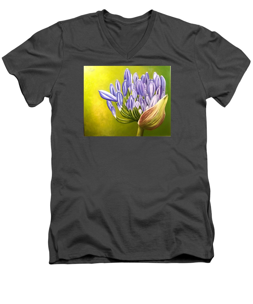 Flower Men's V-Neck T-Shirt featuring the painting Agapanthos by Natalia Tejera