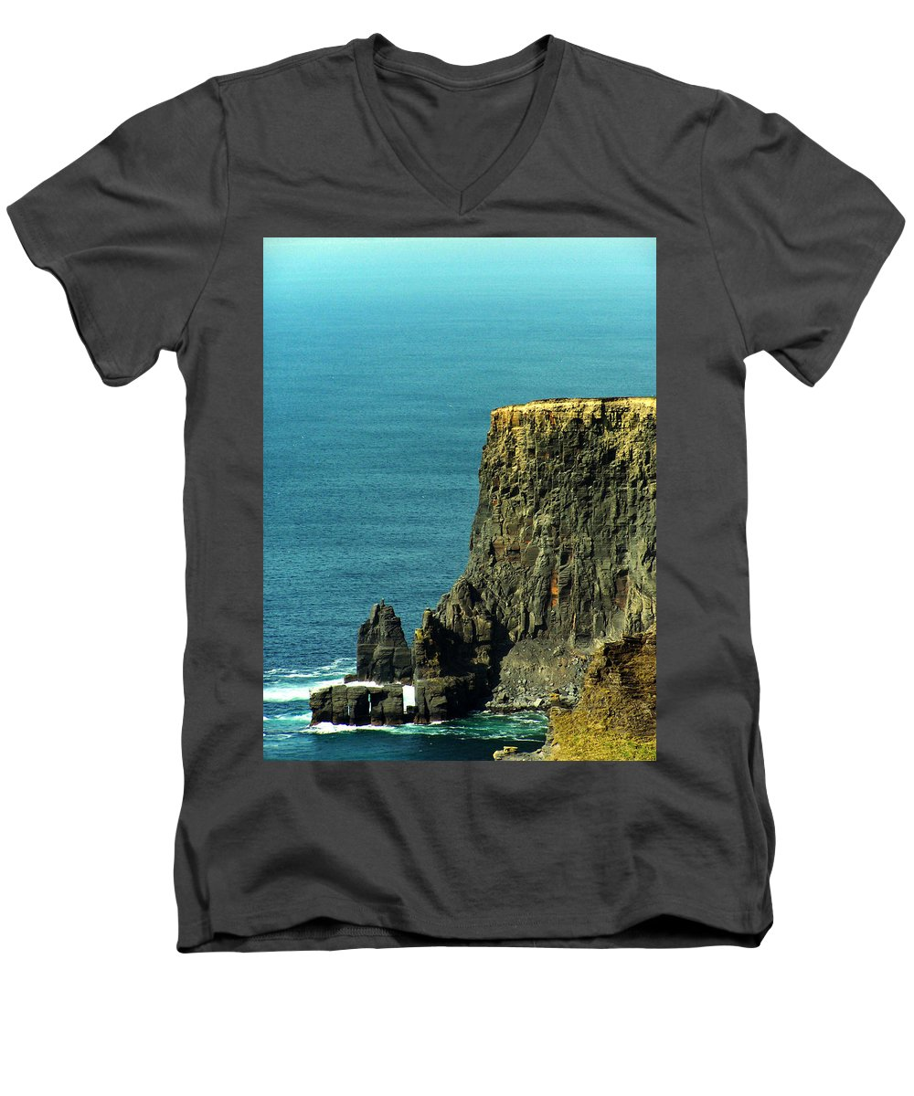 Irish Men's V-Neck T-Shirt featuring the photograph Aill Na Searrach Cliffs Of Moher Ireland by Teresa Mucha