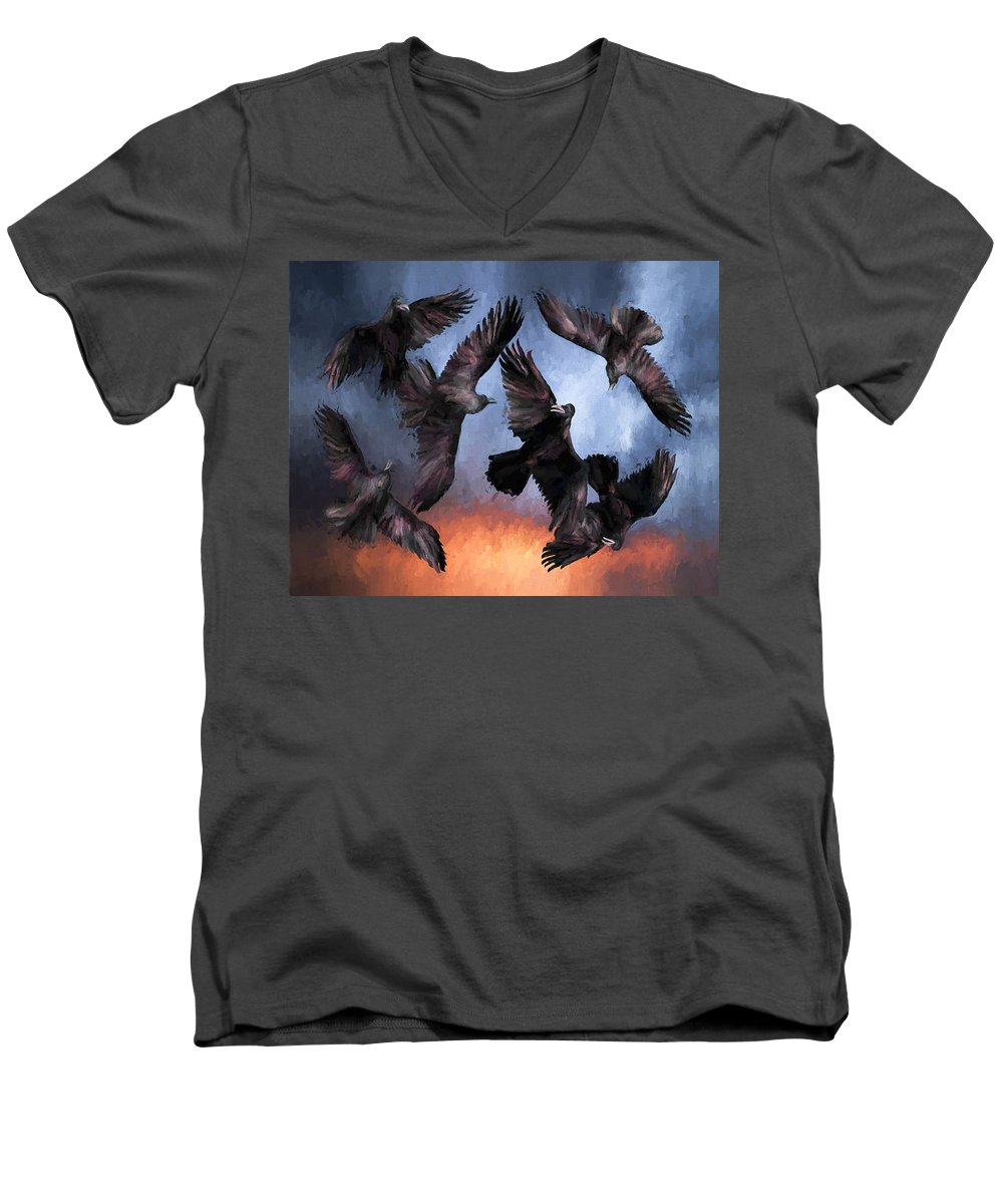 Fine Art Men's V-Neck T-Shirt featuring the painting Airborne Unkindness by David Wagner