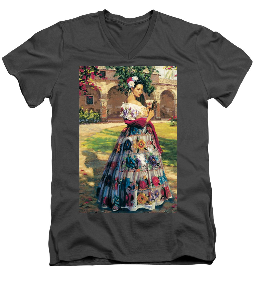 Woman Elaborately Embroidered Mexican Dress. Background Mission San Juan Capistrano. Men's V-Neck T-Shirt featuring the painting Al Aire Libre by Jean Hildebrant