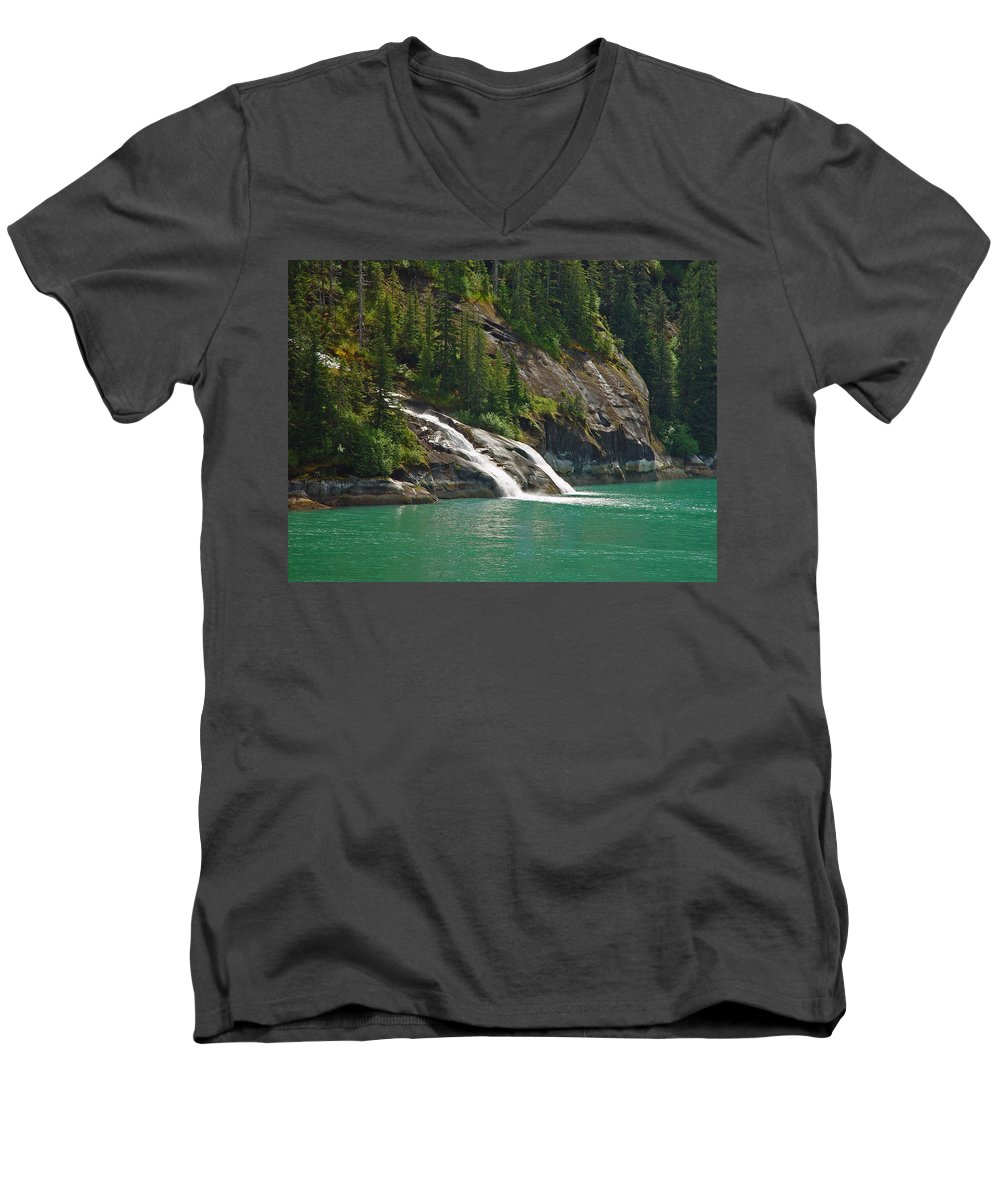Waterfall Men's V-Neck T-Shirt featuring the photograph Alaska Tracy Arm by Heather Coen