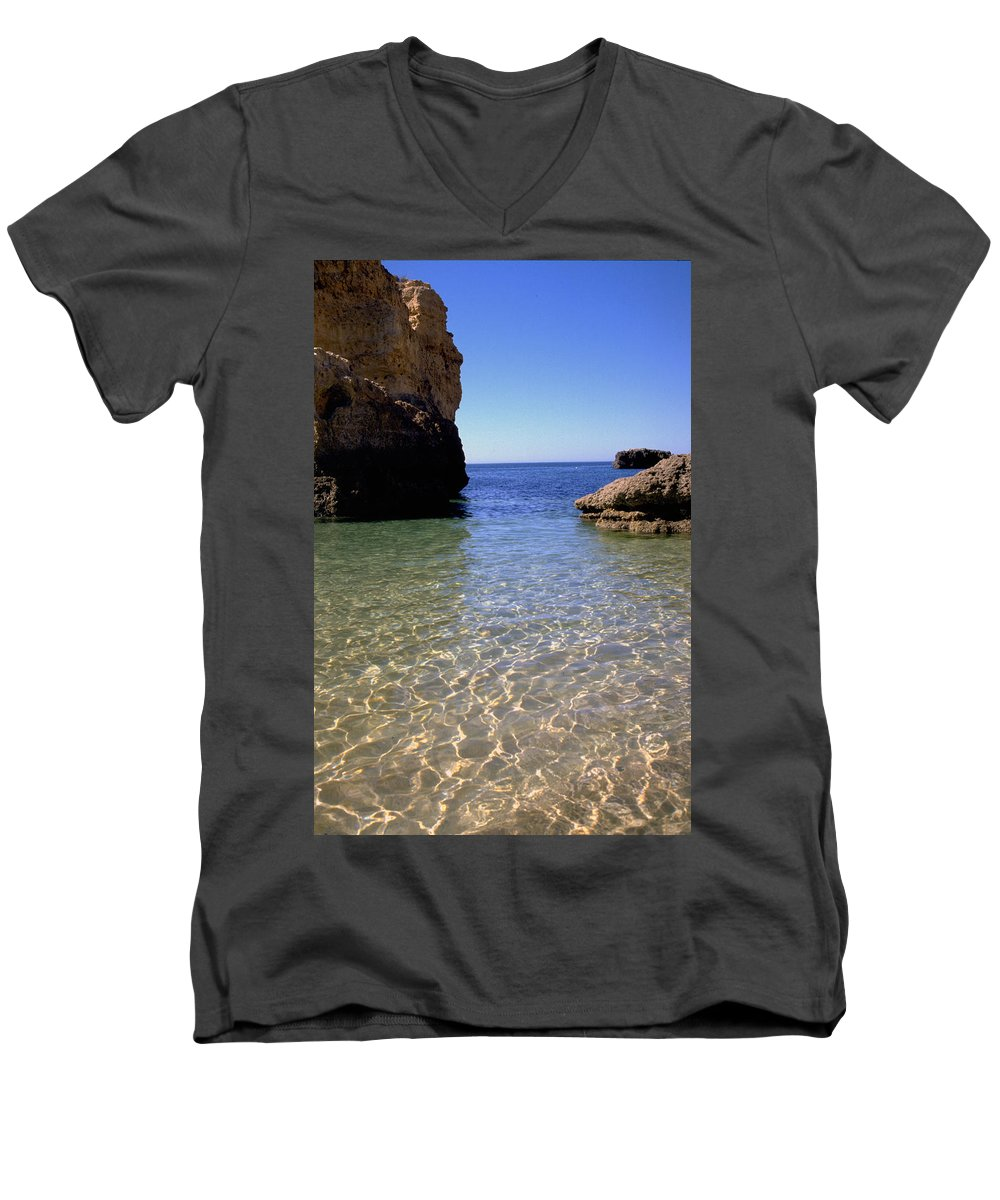 Algarve Men's V-Neck T-Shirt featuring the photograph Algarve I by Flavia Westerwelle