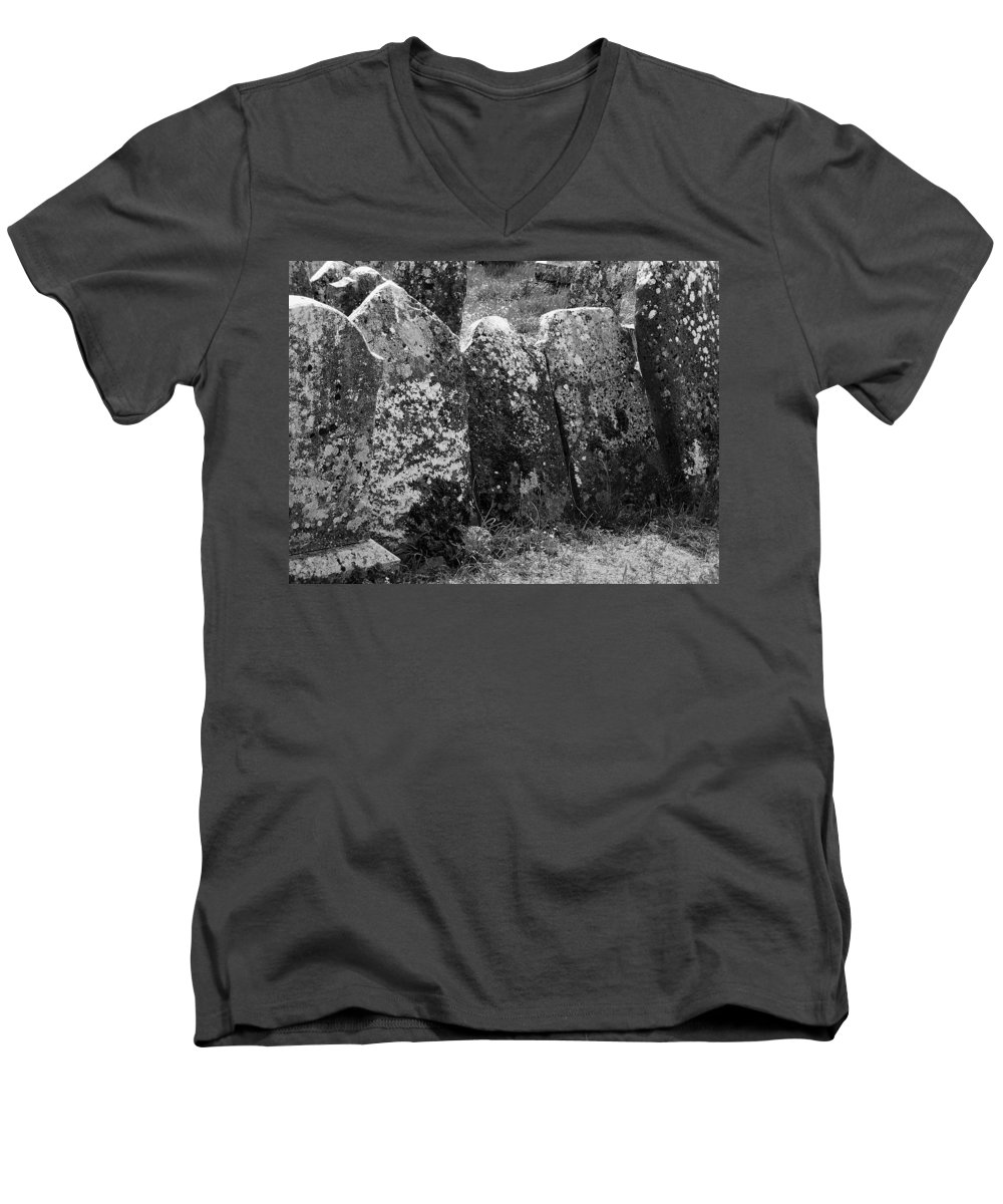 Ireland Men's V-Neck T-Shirt featuring the photograph All In A Row At Fuerty Cemetery Roscommon Ireland by Teresa Mucha