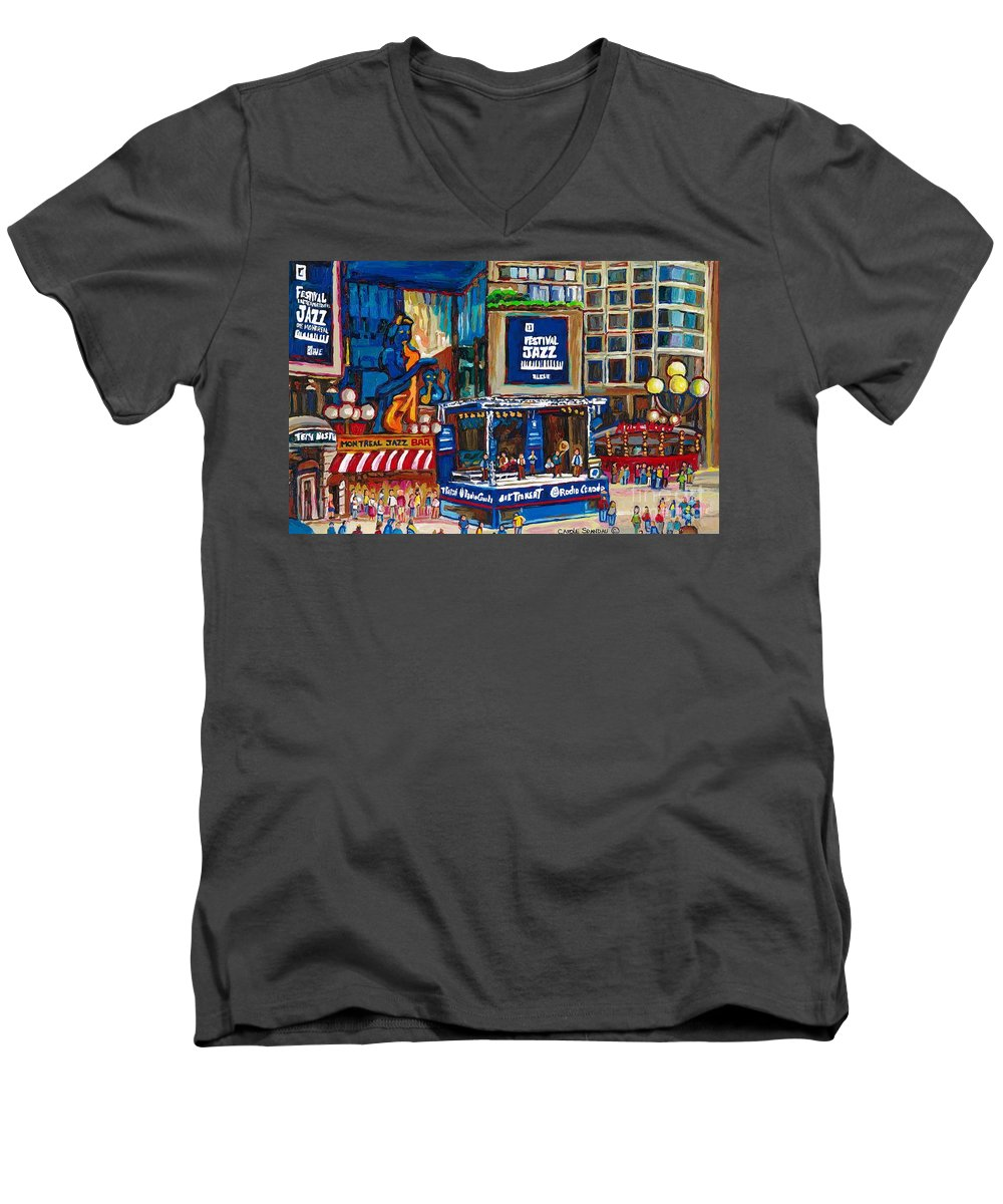 Montreal Men's V-Neck T-Shirt featuring the painting All That Jazz by Carole Spandau