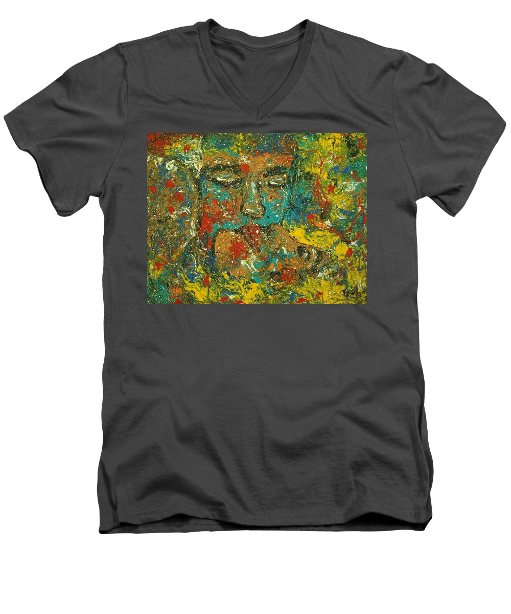 Romantic Men's V-Neck T-Shirt featuring the painting Allure Of Love by Natalie Holland