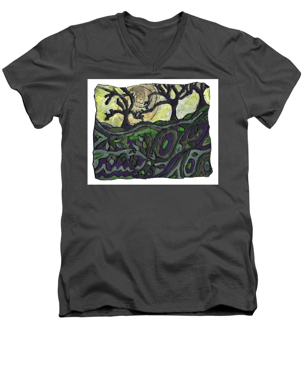 Woods Men's V-Neck T-Shirt featuring the painting Alone In The Woods by Wayne Potrafka