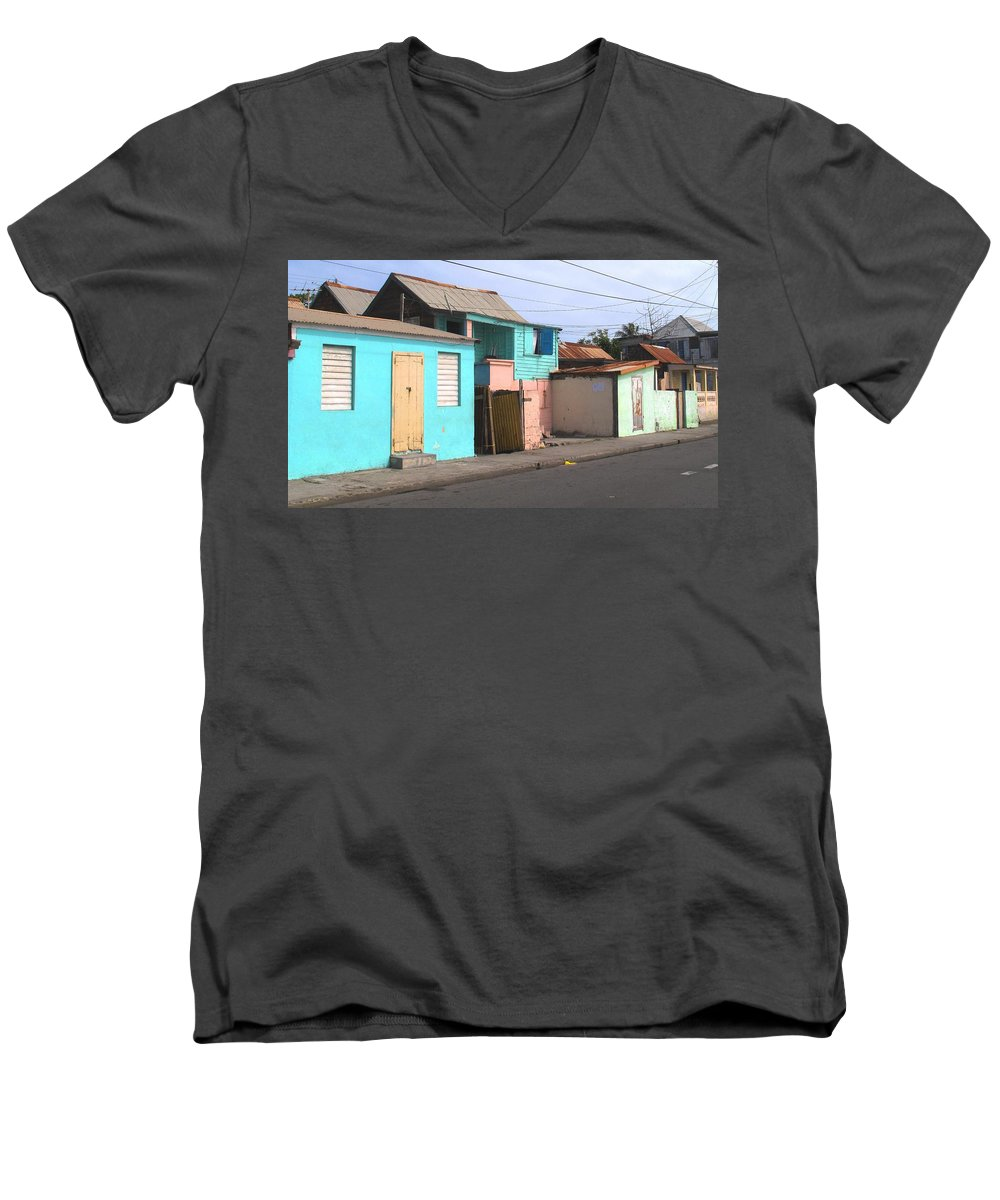St Kitts Men's V-Neck T-Shirt featuring the photograph Along Bay Road by Ian MacDonald