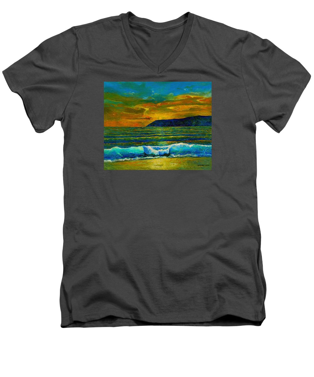 Seascape Men's V-Neck T-Shirt featuring the painting Along The African Coast by Michael Durst