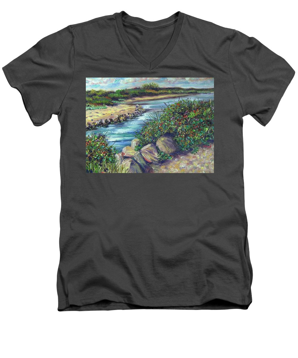 New England Men's V-Neck T-Shirt featuring the painting Along The Connecticut Shore by Richard Nowak