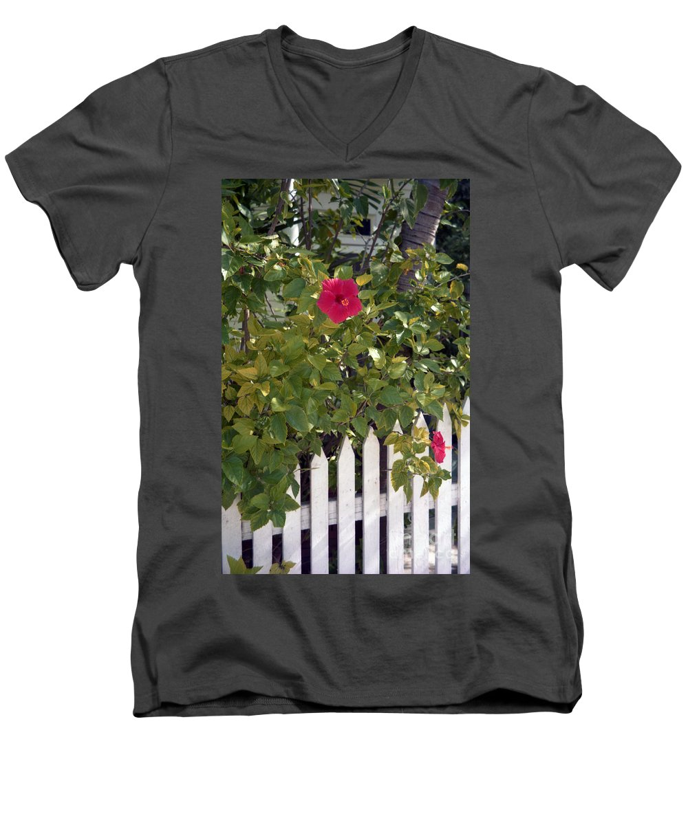 Azelea Men's V-Neck T-Shirt featuring the photograph Along The Picket Fence by Richard Rizzo