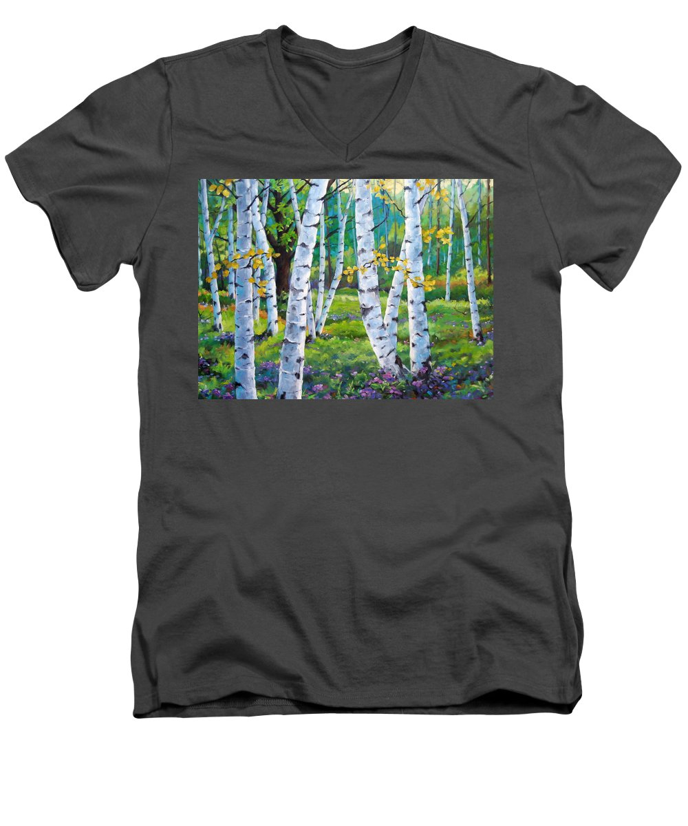Birche; Birches; Tree; Trees; Nature; Landscape; Landscapes Scenic; Richard T. Pranke; Canadian Artist Painter Men's V-Neck T-Shirt featuring the painting Alpine Flowers And Birches by Richard T Pranke
