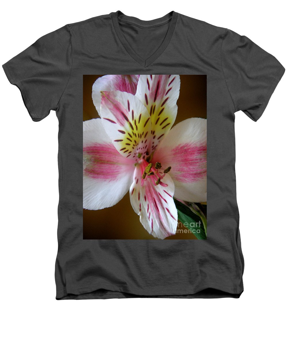 Nature Men's V-Neck T-Shirt featuring the photograph Alstroemerias - Close by Lucyna A M Green