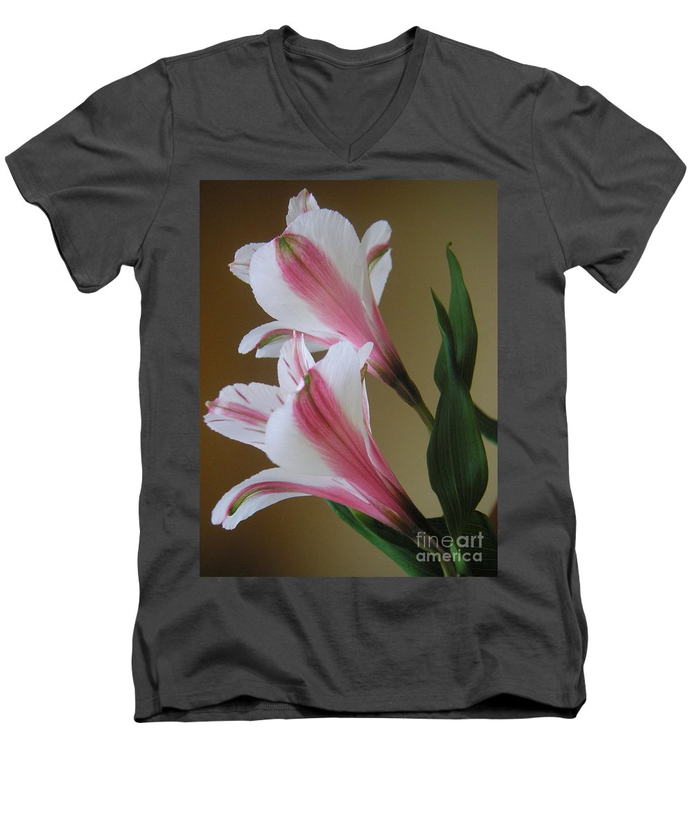 Nature Men's V-Neck T-Shirt featuring the photograph Alstroemerias - Doubled by Lucyna A M Green