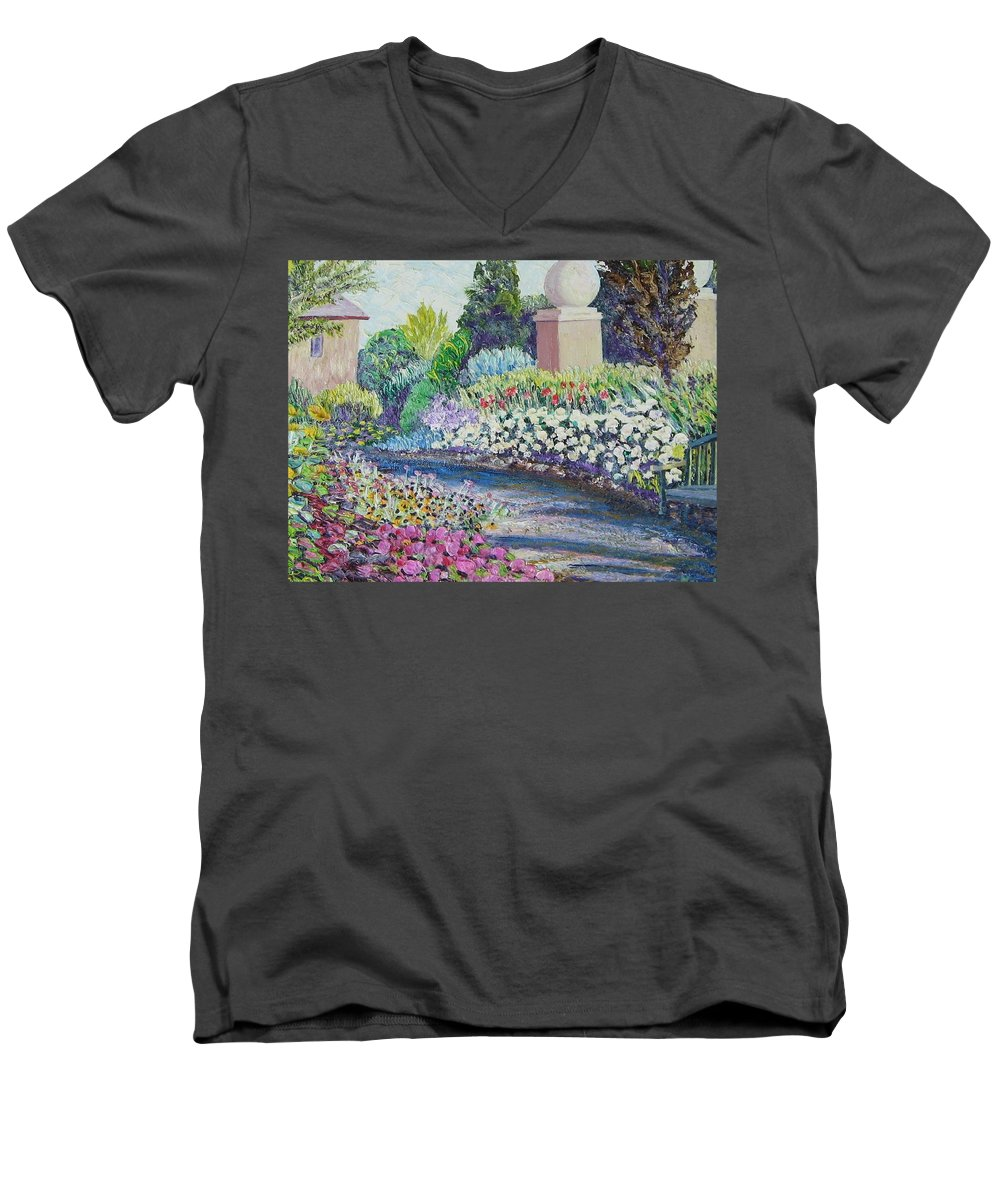 Flowers Men's V-Neck T-Shirt featuring the painting Amelia Park Pathway by Richard Nowak