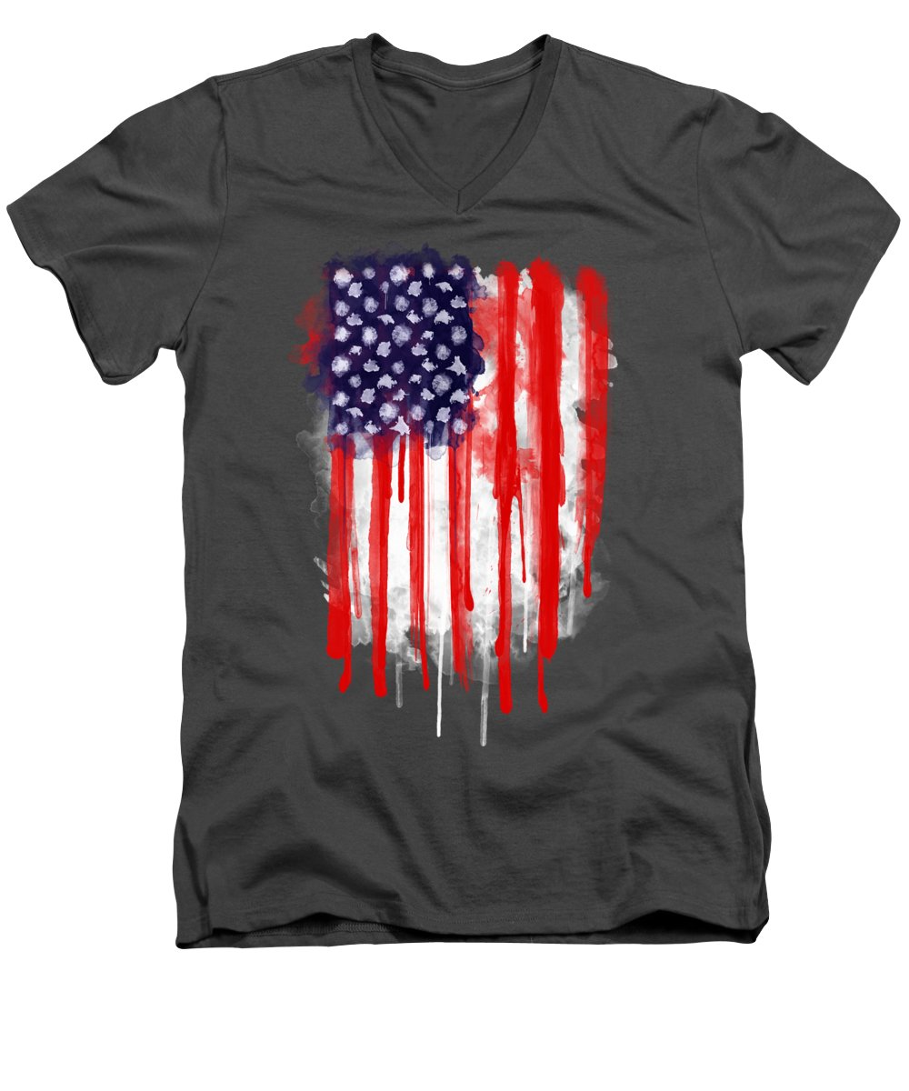 America Men's V-Neck T-Shirt featuring the painting American Spatter Flag by Nicklas Gustafsson
