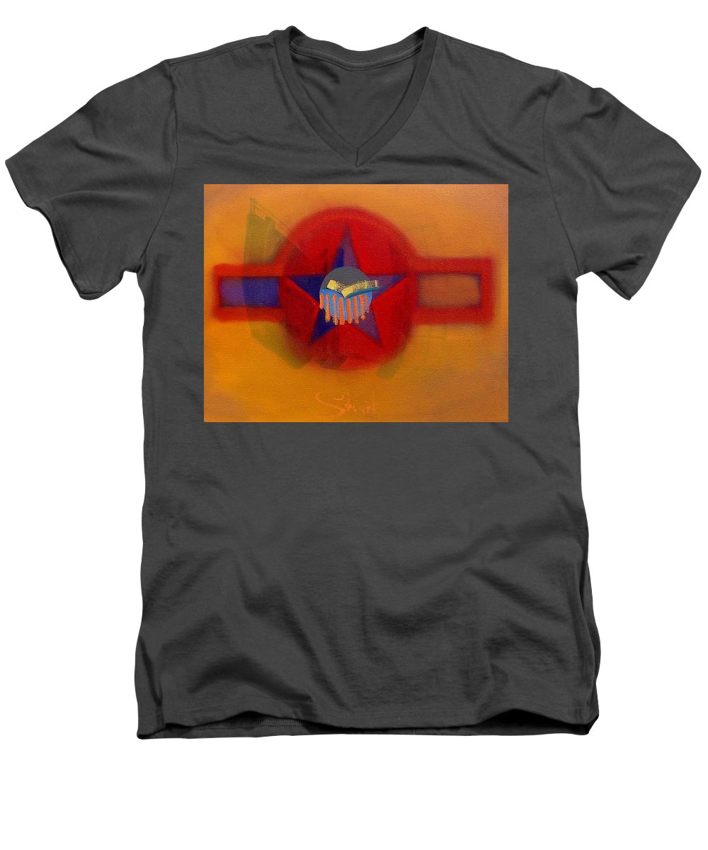 Usaaf Insignia And Idealised Landscape In Union Men's V-Neck T-Shirt featuring the painting American Sub Decal by Charles Stuart