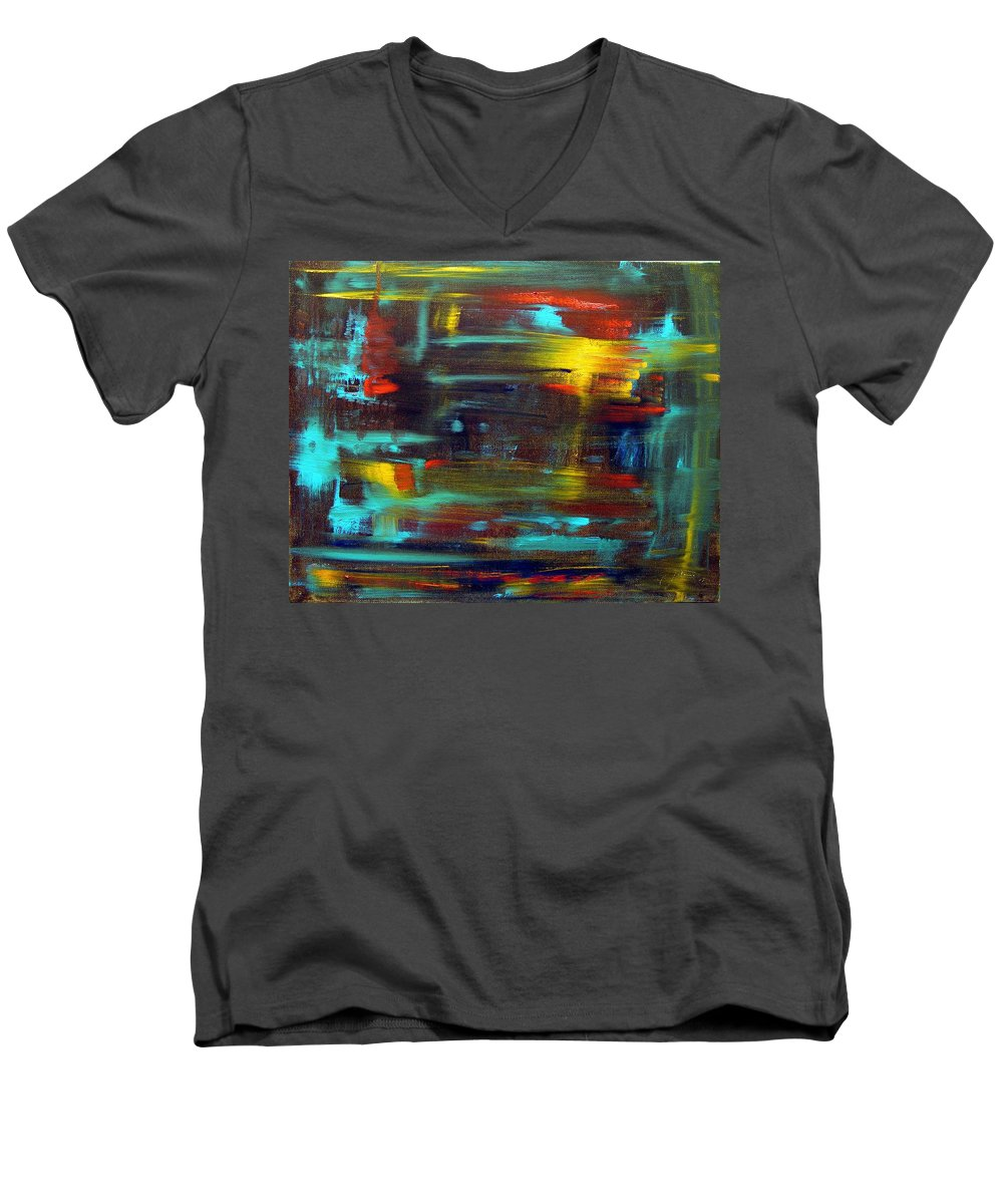 Red Blue Yellow Gold Brown Cad Orange Eyes Obama Oscar  Face Thought Emotions Men's V-Neck T-Shirt featuring the painting An Abstract Thought by Jack Diamond
