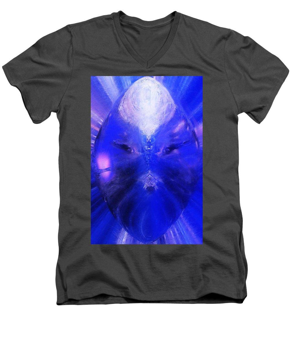 Digital Painting Men's V-Neck T-Shirt featuring the digital art An Alien Visage by David Lane