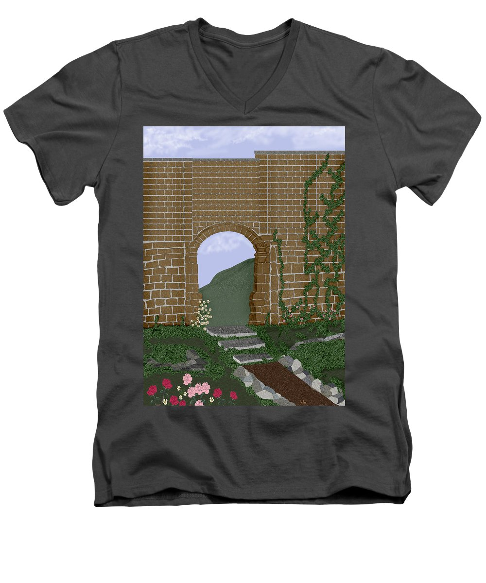 Irish Ruins Men's V-Neck T-Shirt featuring the painting Ancient Walls by Anne Norskog