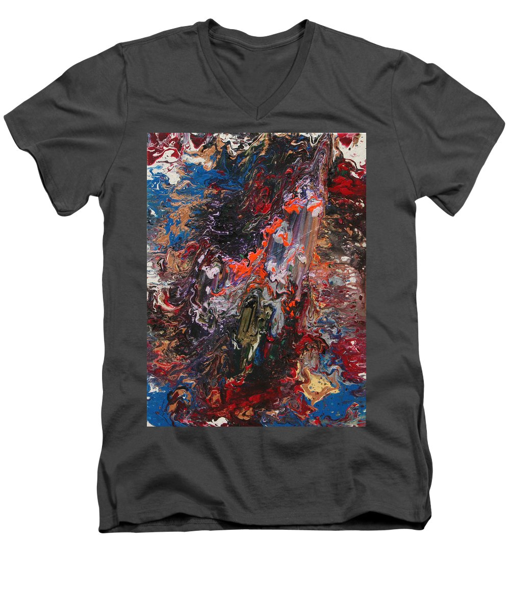 Fusionart Men's V-Neck T-Shirt featuring the painting Angel Rising by Ralph White