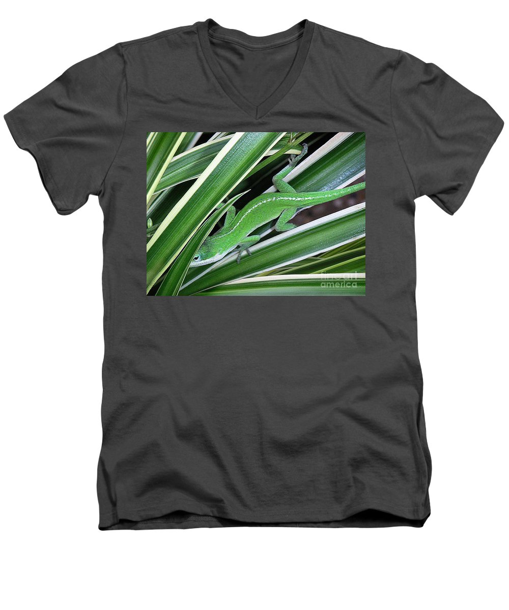 Nature Men's V-Neck T-Shirt featuring the photograph Anole Hiding In Spider Plant by Lucyna A M Green
