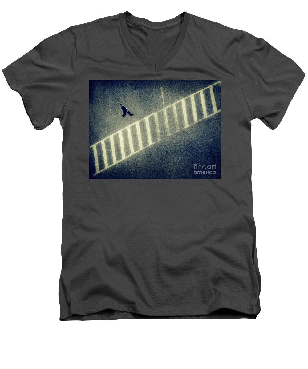 City Men's V-Neck T-Shirt featuring the photograph Anonymity by Dana DiPasquale
