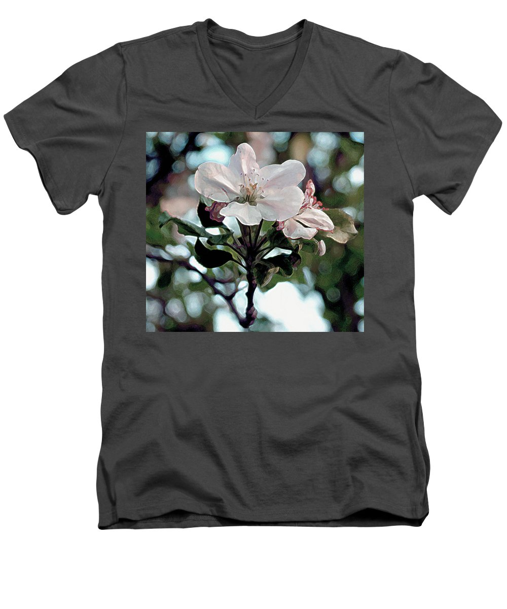 Blossom Men's V-Neck T-Shirt featuring the painting Apple Blossom Time by RC deWinter