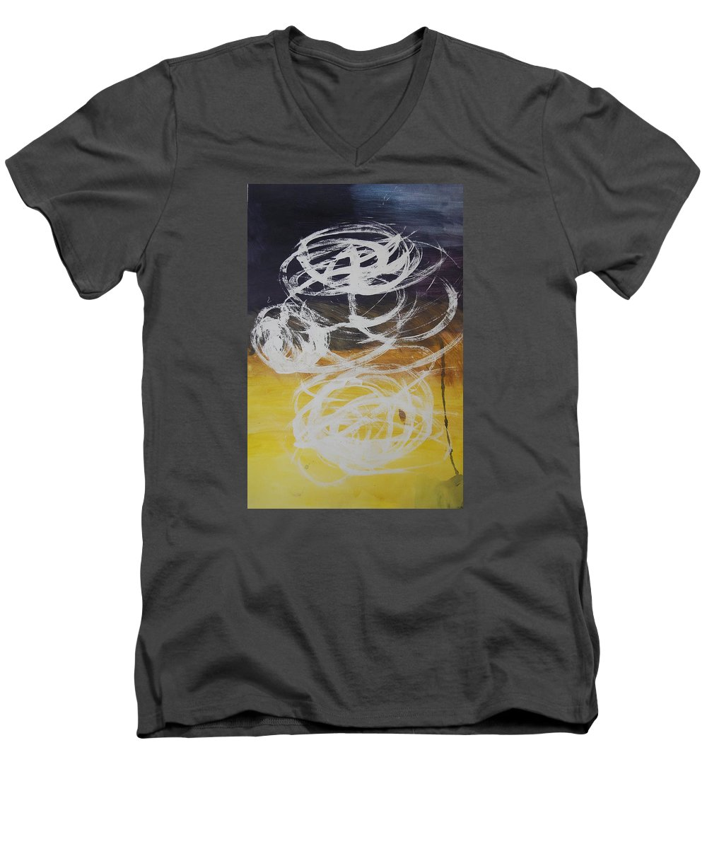 Learning Men's V-Neck T-Shirt featuring the painting Aprendiendo by Lauren Luna