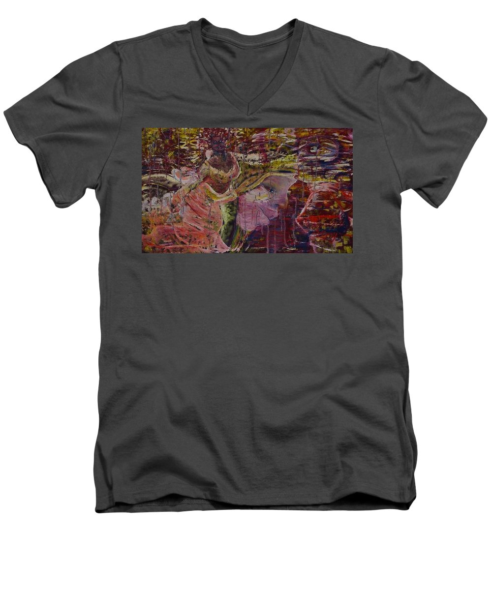 Portrait Men's V-Neck T-Shirt featuring the painting April 29th. by Peggy Blood