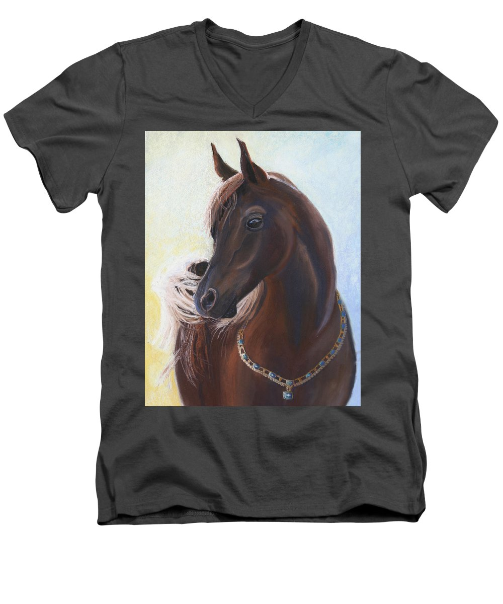 Horse Men's V-Neck T-Shirt featuring the painting Arabian Prince by Heather Coen
