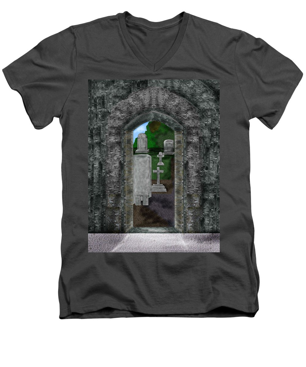 Digital Landscape Men's V-Neck T-Shirt featuring the painting Arches And Cross In Ireland by Anne Norskog