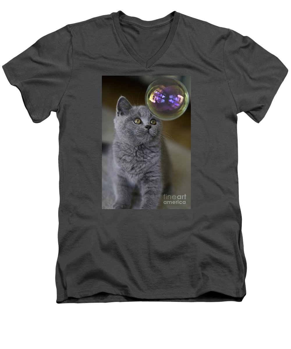 Cat Men's V-Neck T-Shirt featuring the photograph Archie With Bubble by Sheila Smart Fine Art Photography