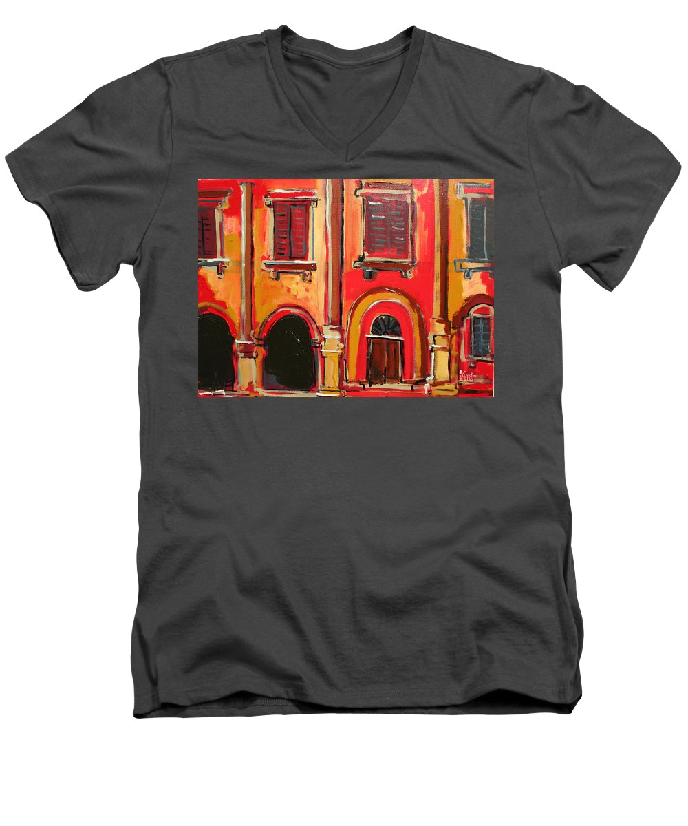 Tuscany Men's V-Neck T-Shirt featuring the painting Arco Di Firenze by Kurt Hausmann