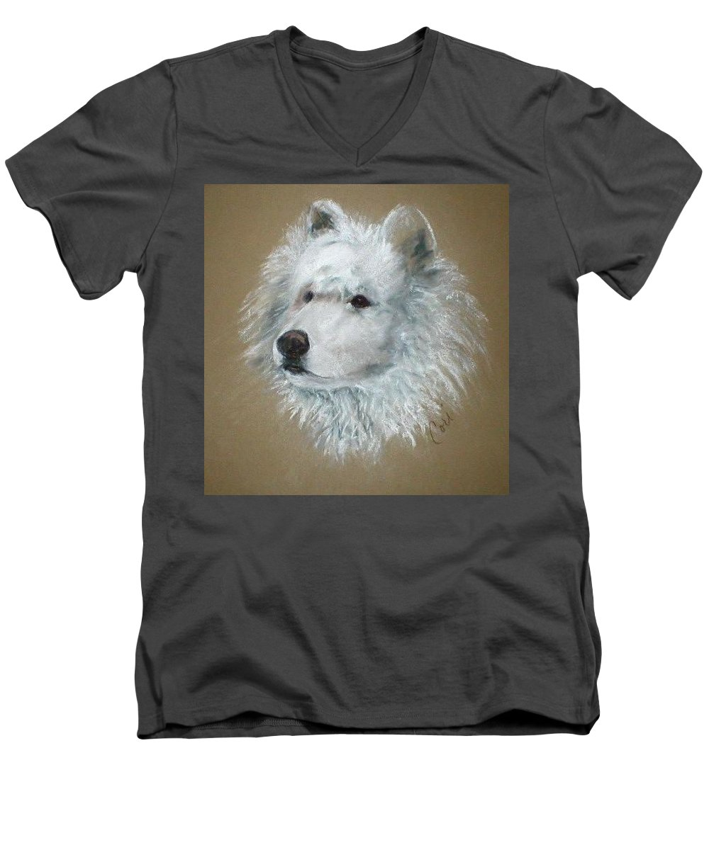 Pastel Men's V-Neck T-Shirt featuring the drawing Arctic Majestry by Cori Solomon